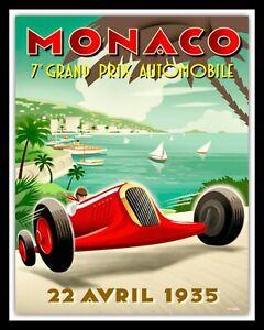 ART DECO 1935 MONACO GRAND PRIX METAL TRAVEL POSTER PLAQUE TIN WALL SIGN 095
