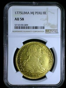 Spanish Colonial Peru 1775 JP Gold 8 Escudos NGC AU-58* Only 2 Graded Higher