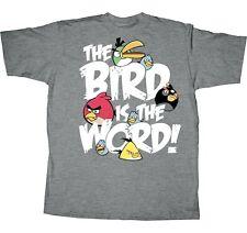 ANGRY BIRDS Rovio Fifth Sun BIRD IS THE WORD Gray BOYS YOUTH 14-16 T SHIRT New