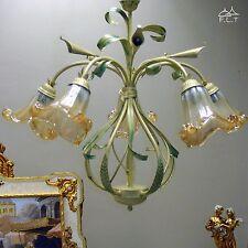 LAMPADARIO sospensione CLASSICO ferro battuto 5L vetri MURANO camera da letto