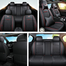 Luxury Leather Car Seat Cover Full Surround Front+Rear 5 Seats Cushion W/Pillows