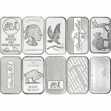Mixed Designs 1oz .999 Silver Bar by SilverTowne-10pc
