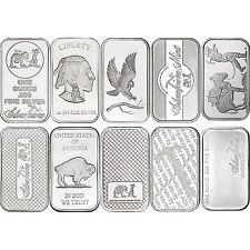 Mixed Designs 1oz .999 Silver Bar by SilverTowne-10pc