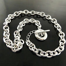 Necklace Chain 925 Sterling Silver S//F Real Solid Padlock Pendant T/'bar Design