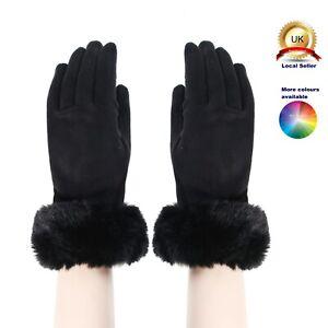 Suede Fabric Faux Fur Trim Plain Woman Lady Seasons Cotton Blend One size Gloves