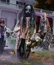 Halloween Props Life Size Decor Animated Zombie Girl w/ Bear Lighted Eyes LED