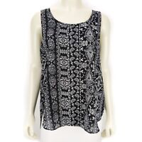 Hippie Rose Black White Sleeveless Tank Top Blouse Shirt Women's Size: SMALL NEW