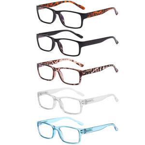 5 Pair Blue Light Blocking Reading Glasses Spring Hinge Rectangle Reader 0~4.0 B