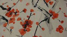 "Designer Fabric, Duralee, ""Blossom Festival"" Garnet.Japanese Floral. Red Black"
