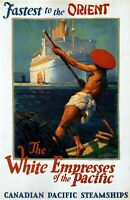 posters 1930 Fastest to the Orient canadian Pacific Steamships  travel ad