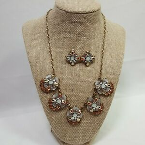 Fashion Jewelry Necklace Earring Set Opal Cubic Zircon Citrine Flower Adjustable