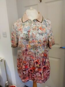RELAXED BY TONI LADIES COTTON FLORAL POLO SHIRT SIZE 22UK BNW/OT
