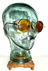 Antique WWII Amber Welsh Goggles Plano Sunglasses Spectacles Vtg Old Steampunk
