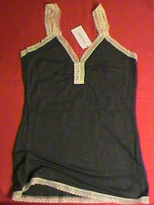 Banana Republ ladies-S charcoal gray tank top stretch lace lightweight soft NWT