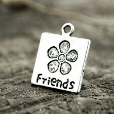 50pc Tibetan Silver Spacer Charm Pendant Jewelry Findings Friends with Flower