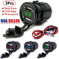 3Pcs 12/24V 4.2A Dual 2USB Car Motor Charger Socket Adapter Outlet LED Voltmeter