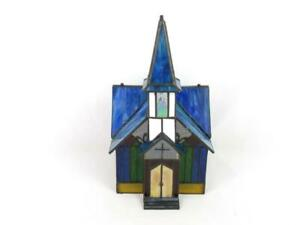 Stained Glass Church Candle Holder Lantern Christmas Steeple Blue Green