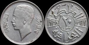 1938 (AH1357) Iraq 20 Fils Silver - Nice AU - KM# 106