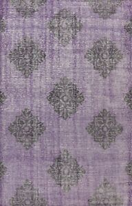 Vintage Style Purple Oushak Geometric Oriental Area Rug Wool Hand-knotted 6x9 ft