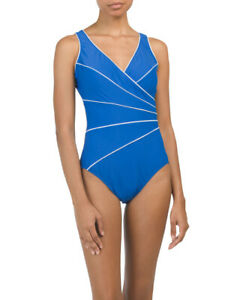 NWT $158 MIRACLESUIT Women Swimwear Swim Active One Piece Stretch V-Neck Blue 16
