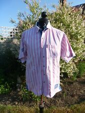 EDWARDS HEAVIES M/L MAX 42/44 PINK/WHITE STRIPED COTTON SHORT SLEEVE SHIRT