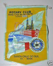 Vintage Santa Cruz Do Sul Brasil Brazil International Rotary Club Banner Flag