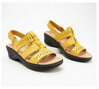Clarks Collection Lexi Qwin Leather Cut-Out Sandals, Yellow, US Size 7 WW, NWB