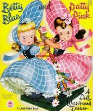 Vintage Uncut 1949/1958 Betty Blue & Patty Pink Paper Dolls~#1 Reproduction~Htf