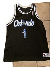 Vintage Champion Black Orlando Magic 1990s Anfernee PENNY Hardaway 1 Jersey 48 L