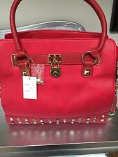 Gorgeous Red  Padlock / Studded Tote Bag