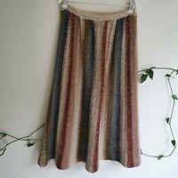 Vtg 70s Mohair Blend Rainbow Stripe Midi Skirt S-M A-Line Fluffy Semi-Sheer Boho