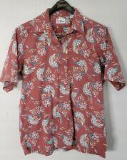 Reyn Spooner Red Leap of Fish Marlin Short Sleeve Half Button Down Shirt Sz L