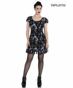 Hell Bunny Alchemy Gothic Black Skater Mini Dress ASH Crows Skulls XS UK 8