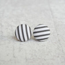 Black and White Stripes Fabric Button Earrings