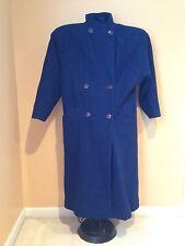 Women's Paul Levy Vintage Wool Coat Long Blue 14-16