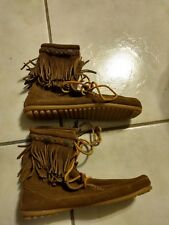 Minnetonka Women's Size 8 Dual Fringe Moccasins Ankle Boots Lace up  Brown