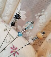 Hat Pins 3 Victorian Antique Vintage Inspired Lampwork Beads Silver Fittings