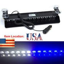 12LED Car Emergency Warning Dash Visor Flash Strobe Light Bar Lamps Blue White
