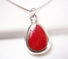 Red Coral Triangle with Soft Corners 925 Sterling Silver Pendant