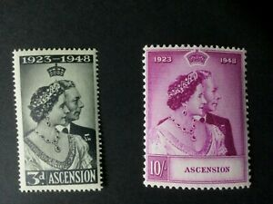Ascension Is: 1948 Royal Silver Wedding, Mint never hinged set.