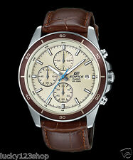 EFR-526L-7B White Casio Men Watches Geunine Leather Band Chronograph Date Analog