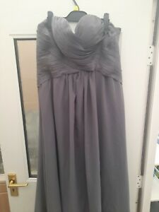 Beautiful Grey Bridesmaid/occasion Strapless Evening Dress Size 16