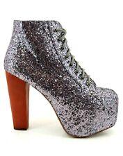 Jeffrey Campbell Glitter Silver Lita boots
