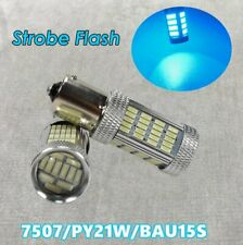 Strobe Flash Front Turn Signal BAU15S 7507 PY21W 92 LED Ice Blue Bulb W1 JAE