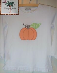 Shrimp & Grits Girls Sizes 7-8 (Lg) and 9 (XL) Cotton Shirt Pumpkin Applique EUC
