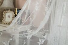 Pairs Home decorative Sheer full scallop Embroiderywhite Floral American Curtain