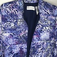 Womens Blue Purple Floral Open Front Jacket Blazer Size 16 XL Alfred Dunner