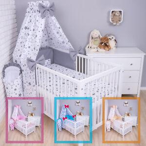 Baby Bettwäsche Bettset mit Nestchen Kinderbettwäsche Himmel 100x135cm 7 TLG.