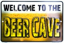 """Welcome To The Beer Cave 8"""" x 12"""" Metal Sign Funny Man Cave Embossed Plaque"""