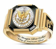 The MORGAN SILVER DOLLAR 24K GOLD PLATED RING SIZE 11